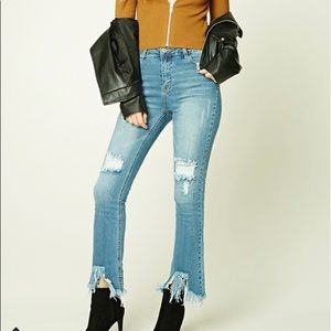 Vintage Inspired Distressed Flared Jeans